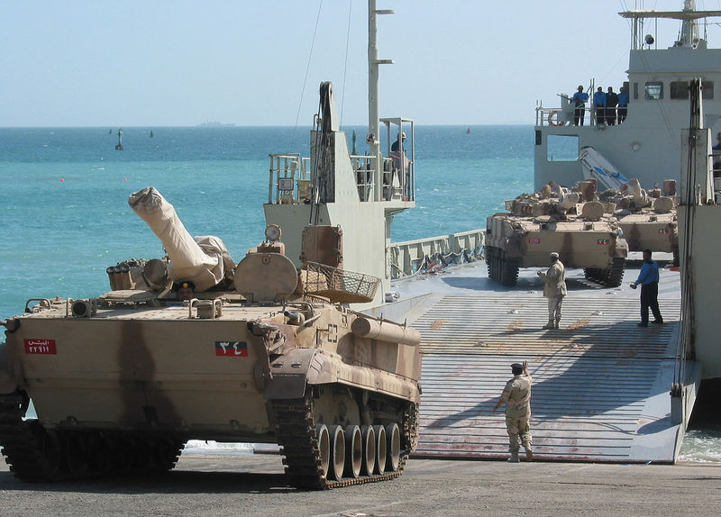 US_Navy_030223-N-1050K-001_UAE_offloads_a_BMP3_Tank_at_a_Kuwaiti_port_facility_from_its_Elbahia_L62_landing_craft