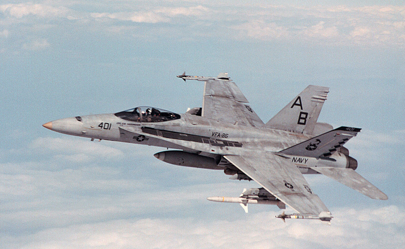 F-18C_Hornet_of_VFA-86_in_flight_over_the_Persian_Gulf_in_1998